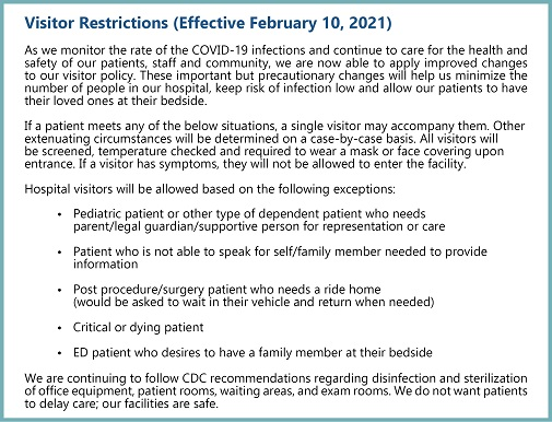 Visitor Restrictions - February 10